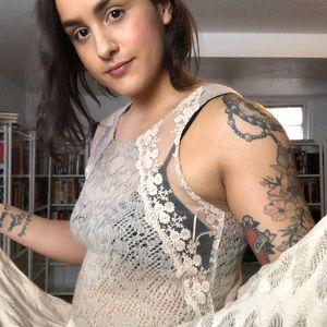 Free People Tan Lace + Knit Overlay Dress - B48